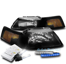For 99-04 Ford Mustang Black Headlights Headlamps Lamp W/Blue Drl Led Signal+Hid