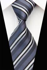 GIFTS FOR MEN Classic Mens Multi Stripe Silk Necktie Tie Dark Grey Black White
