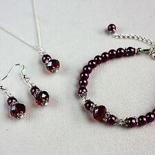 Burgundy crystal pearl necklace bracelet earrings silver wedding bridesmaid set