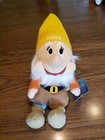 "Disney Snow White Seven Dwarves Dwarf Happy Plush Stuffed Doll Toy 10"" NWT Rare"