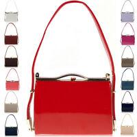 New Patent Faux Leather Women Clutch Bag Bridal Designer Ladies Evening Party UK