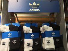 Adidas Originals Trefoil Cushioned Socks Crew 6-Pack black white Mens size 6-12