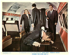 WHERE THE SPIES ARE ORIGINAL BRITISH LOBBY CARD DAVID NIVEN ON PLANE