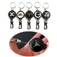 New Retractable Steel Wire Rope Carabiner Recoil Key Ring Pull Chain Keychai_ti