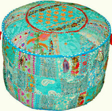 Handmade Decorative Pouffe Cover Round Ottoman Pouffe Foot Stool Cover