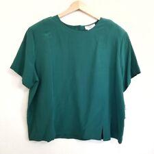 Vintage NWT DANA TAYLOR 100% Silk Green Blouse Size 22W