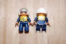 Lot of 2 Lego Duplo Police Officer Cop w/ Motorcycle Helmet