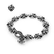 Silver toggle bracelet fleur-de-lis cross chain stainless steel soft Gothic