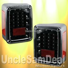 JEEP JK WRANGLER CLEAR LENS BLACK HOUSING RED LED TAIL LIGHTS WITH LED REVERSE
