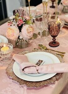 Charger Plates for HIRE | Rose Gold | rose gold leaf charger plate hire