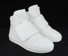 Versace Men's Eros Leather Quilted Greek Key High-Top Sneakers, White, MSRP $995