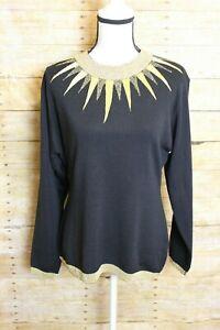 Cedars Vintage Black Gold Trim Wool Blend Sweater Women's Size L