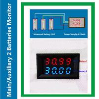 Dual Battery Monitor Two Voltmeter 200V for Redarc ARB CTek Projecta RV Auto Car