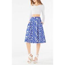 BCBG MaxAzria Womens 6 Skirt Jezebel Embroidered Blue White Midi