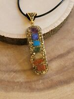 "Orgone 7 Chakra Stones Healing Pendant 20"" Cord Necklace Pendant EMF Protection"