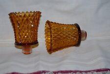 "Vtg Home Interior Amber Diamond Cut Votive Cups (2) Cups 3"" Homco"
