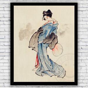 Geisha Japanese Blue Kimono w/ Fan Watercolor Repro Print - Size & Frame Options