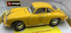 1:18 Burago Gold Collezione - PORSCHE 356B Coupe 1961 Yellow - Die Cast - BNIB
