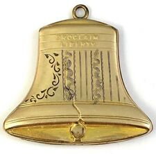 "VICTORIAN LIBERTY BELL SHAPED LOCKET RARE ""PROCLAIM LIBERTY"" ETCHED ACCENTS"