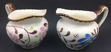 2 Vintage Gray's Pottery Creamers, Pink & Blue Flowers, Copper Trim, England