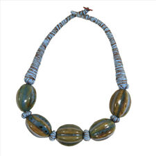Button Clasp Polished Stone Blue and Tan 19 inch