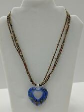 Beaded Necklace w/ Glass Heart Pendant