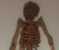 Grand Squelette Rare Bois Pin Objet De Curiosité Art Populaire Année 1960