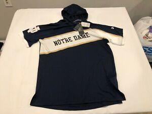 NWT $79.99 Under Armour Notre Dame Mens SS Hoodie Shirt Navy SZ LARGE