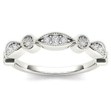 Solid 10K White Gold 0.10 Ct Round Cut Diamond Wedding Band