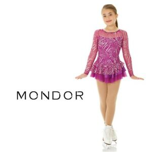 CLEARANCE MONDOR Sparkly Figure Skating Competition Dress Hibiscus Adult Large