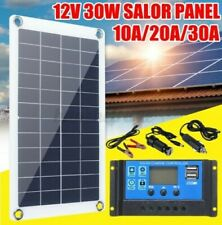 30W Panneau Solaire Monocrystalline Silicone Chargeur Batterie Kit 12V + Manette