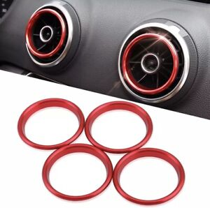 Red 4 Piece Audi Air Vent Rings A3 S3 8V 2013-2020 Trims Aircon Fast Delivery Q2
