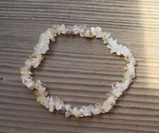 NATURAL RUTILATED QUARTZ STONE GEMSTONE STRETCHY CHIP BRACELET