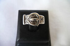 Vintage1970's Wide HM Sterling Silver Buckle Ring Birmingham 1975 : Size O