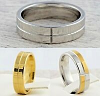 6mm Stainless Steel Mens & Womens Wedding Band Silver Gold Plated Comfort Ring