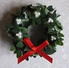 Dolls house miniatures: Christmas boxwood wreath with white berries and red bow