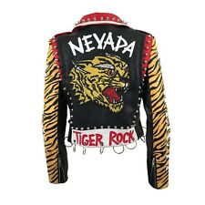 Tiger Rock Faux Leather Moto Jacket with Studs and Hoops Size M