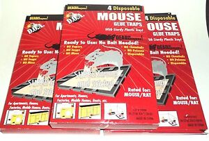 12 PIC D.O.A. Disposable MOUSE Glue Traps Ready To Use: No Bait Needed NIB