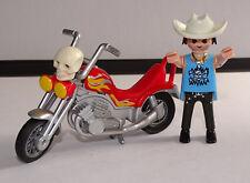 PLAYMOBIL MOTO DE BIKER  CUSTOM +  MOTARD  EQUIPE BON ETAT