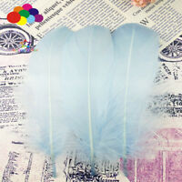 100 Pcs Goose feathers Sky blue 15-20 Cm/6-8 Inch Diy Stage Props Decor Headress