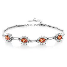 4.20 Ct Oval Orange Sapphire 925 Sterling Silver Bracelet