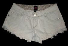 2B bebe Denim Short Shorts Daisy Dukes w/Lace Applique Trim Pale Baby Blue 26