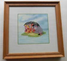 "Framed Winnie the Pooh  Art Print Umbrella with Eeyore & Tigger 9.75"" Disney"
