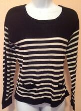 NWT The Limited Black White Stripe Colorblock Sweater Pockets Size XS