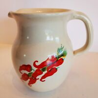 VTG Shakers & Thangs Pottery Marshall TX Pitcher 6 Inch Tall Red Chili Peppers
