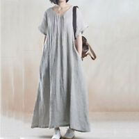 New Loose Casual Dress Plus Size Linen Women Lady Long Flax Tunic Short Sleeve