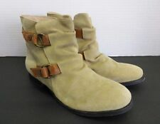 Diba Flap Jack Suede Slouch Double Buckle Ankle Boots Boho Womens Size 8.5 NWOT