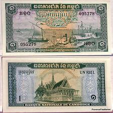 CAMBODGE billet neuf de 1 RIEL Pick4c LE PORT DE PHNOM PENH PALAIS ROYAL 1972