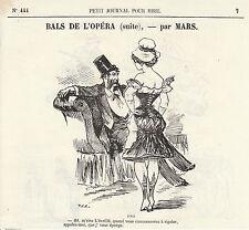 Gravure ancienne 1880  bals de l'opéra  par Mars    XIXème