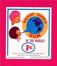 Worlds Biggest Bubble Gum 1 Cent Vending Machine Sign